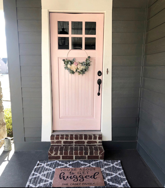 pink sherwin williams loveable front door