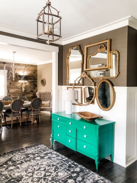 Mirror Wall, green dresser, furniture painting