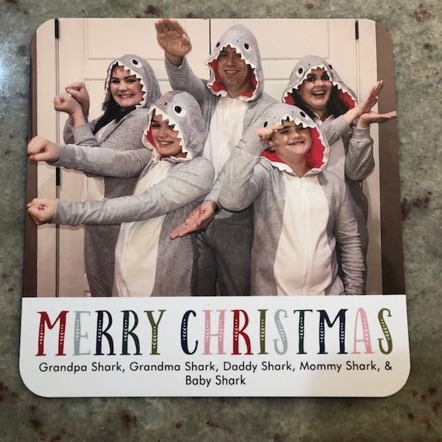 baby shark, christmas card, family photo, family christmas photo
