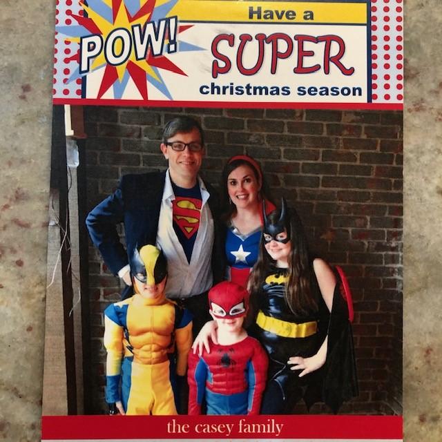Super hero, super hero christmas, christmas card idea, family pic idea