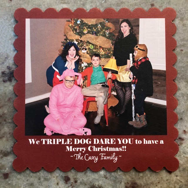 a christmas story, ralphie, leg lamp, christmas card, family christmas card, funny christmas card